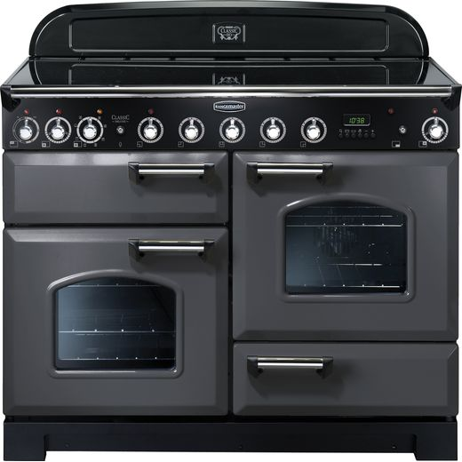 Rangemaster Classic Deluxe CDL110EISL/C 110cm Electric Range Cooker with Induction Hob - Slate Grey / Chrome - A/A Rated