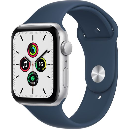 Apple Watch SE, 44mm, GPS [2021] - Silver Aluminium Case with Abyss Blue Sport Band