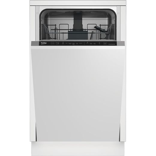 Beko DIS16R10 Fully Integrated Slimline Dishwasher - Silver Control Panel with Fixed Door Fixing Kit - E Rated