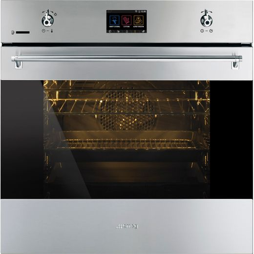 Smeg Classic SFP6303WTPX Wifi Connected Built In Electric Single Oven - Black / Stainless Steel - A+ Rated