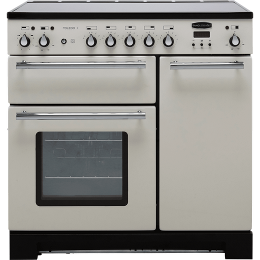 Rangemaster Toledo + TOLP90EIIV/C 90cm Electric Range Cooker with Induction Hob - Ivory / Chrome - A/A Rated