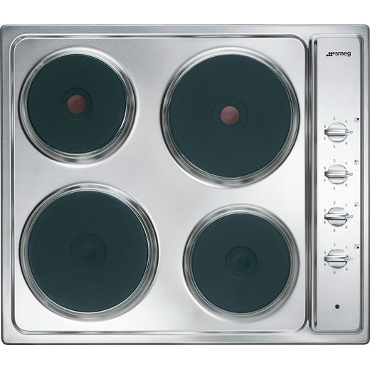 Smeg Cucina SE435S 58cm Solid Plate Hob - Stainless Steel