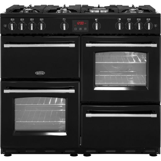 Belling Farmhouse100G 100cm Gas Range Cooker - Black - A/A Rated
