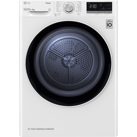 LG V7 FDV709W Wifi Connected 9Kg Heat Pump Tumble Dryer - White - A+++ Rated