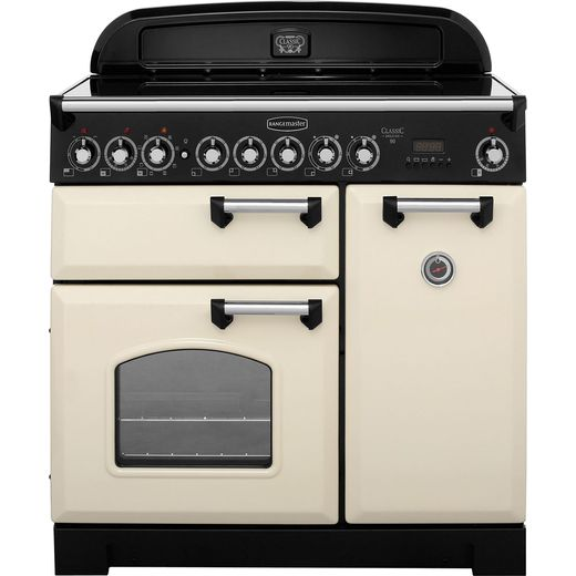 Rangemaster Classic Deluxe CDL90ECCR/C 90cm Electric Range Cooker with Ceramic Hob - Cream / Chrome - A/A Rated