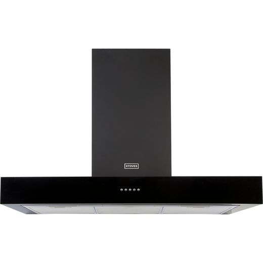Stoves Sterling ST S1000 STER FLAT BLK 100 cm Chimney Cooker Hood - Black - A Rated