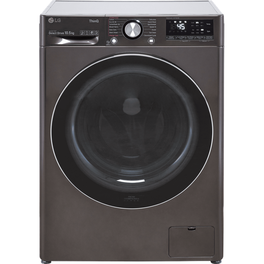 LG V10 F6V1010BTSE Wifi Connected 10.5Kg Washing Machine with 1600 rpm - Black / Stainless Steel - A Rated