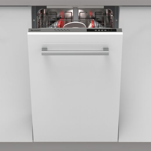 Sharp QW-NS14I49EX-EN Fully Integrated Slimline Dishwasher - Silver Control Panel - E Rated