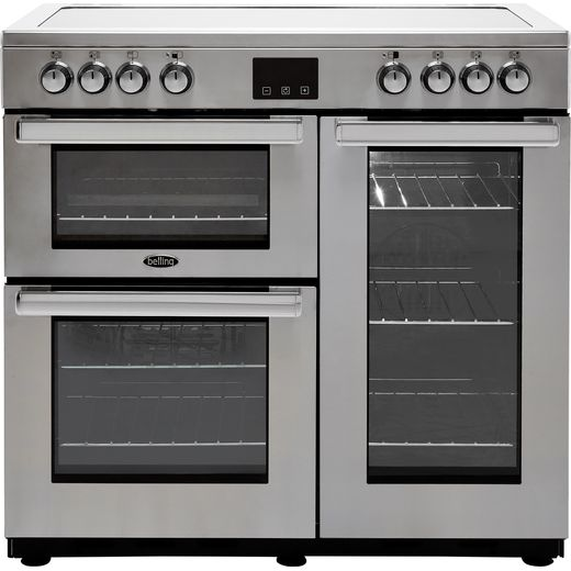 Belling Cookcentre90EProf 90cm Electric Range Cooker with Ceramic Hob - Stainless Steel - A/A Rated