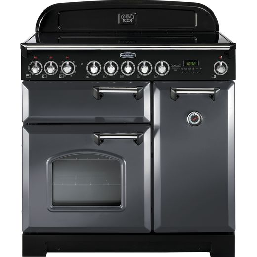 Rangemaster Classic Deluxe CDL90EISL/C 90cm Electric Range Cooker with Induction Hob - Slate Grey / Chrome - A/A Rated
