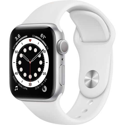 Apple Watch Series 6, 40mm, GPS [2020] - Silver Aluminium Case with White Sport Band