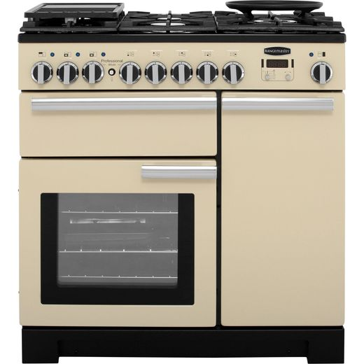 Rangemaster Professional Deluxe PDL90DFFCR/C 90cm Dual Fuel Range Cooker - Cream - A/A Rated