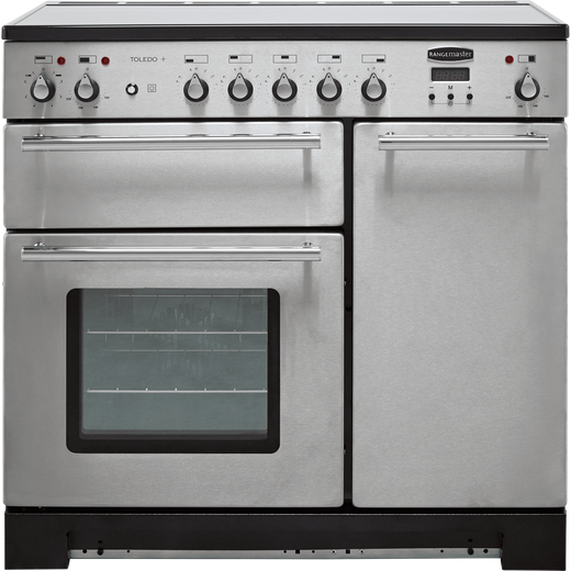Rangemaster Toledo + TOLP90EISS/C 90cm Electric Range Cooker with Induction Hob - Stainless Steel - A/A Rated