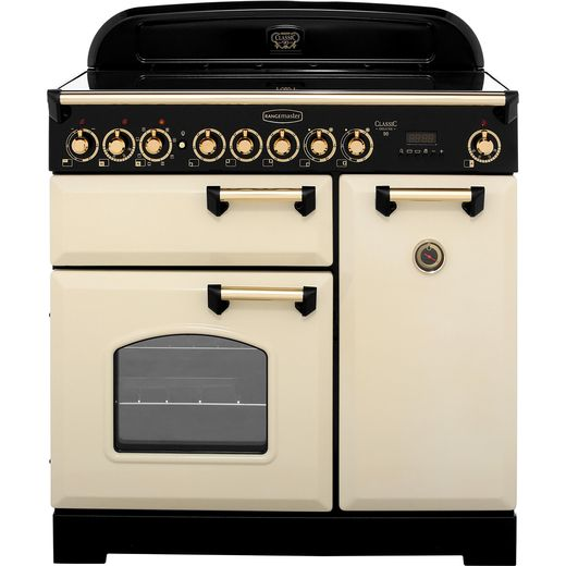 Rangemaster Classic Deluxe CDL90ECCR/B 90cm Electric Range Cooker with Ceramic Hob - Cream / Brass - A/A Rated