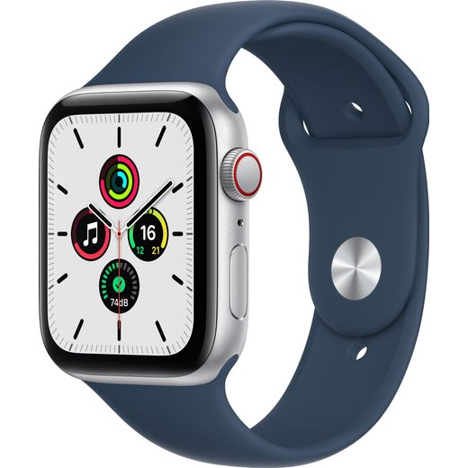 Apple Watch SE, 44mm, GPS + Cellular [2021] - Silver Aluminium Case with Abyss Blue Sport Band