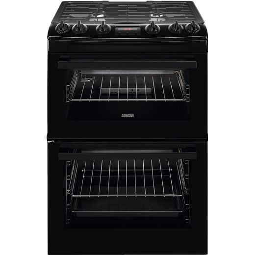 Zanussi ZCG63260BE Gas Cooker with Full Width Electric Grill - Black - A/A Rated