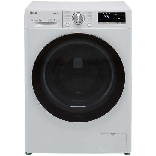 LG V9 F4V909WTSE Wifi Connected 9Kg Washing Machine with 1400 rpm - White - A Rated