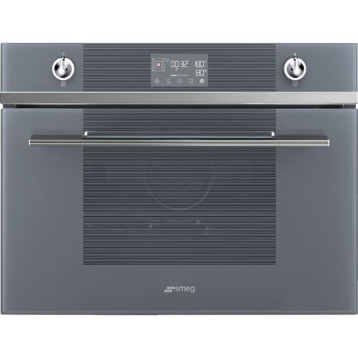 Smeg Linea SF4102VCS Built In Compact Electric Single Oven with added Steam Function - Silver - A+ Rated