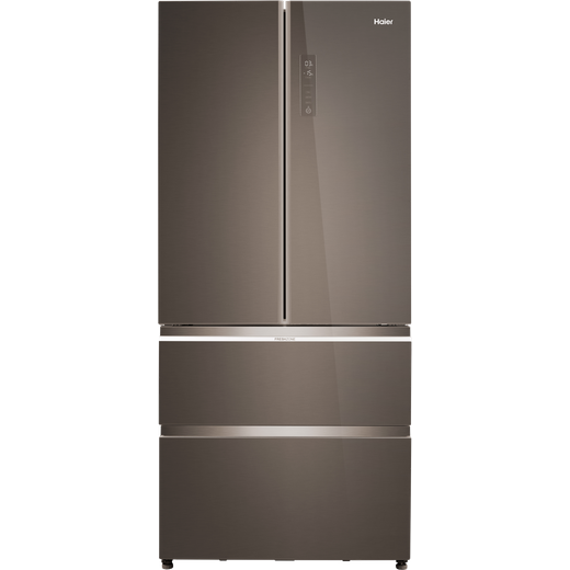 Haier HB18FGSAAA American Fridge Freezer - Titanium Glass - E Rated