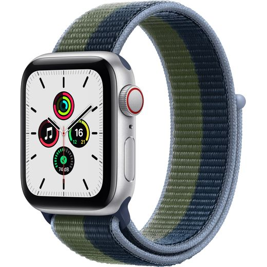 Apple Watch SE, 40mm, GPS + Cellular [2021] - Silver Aluminium Case with Abyss Blue/Moss Green Sport Loop