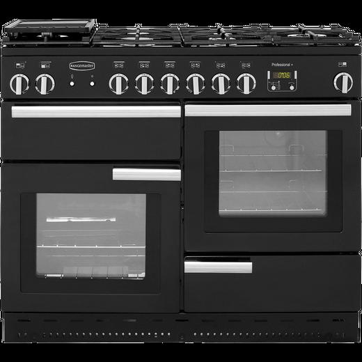 Rangemaster Professional Plus PROP110NGFGB/C 110cm Gas Range Cooker - Black / Chrome - A+/A+ Rated