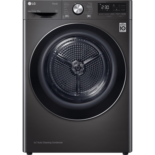 LG V9 FDV909B Wifi Connected 9Kg Heat Pump Tumble Dryer - Black - A+++ Rated