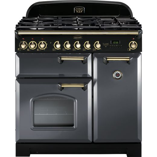 Rangemaster Classic Deluxe CDL90DFFSL/B 90cm Dual Fuel Range Cooker - Slate Grey / Brass - A/A Rated