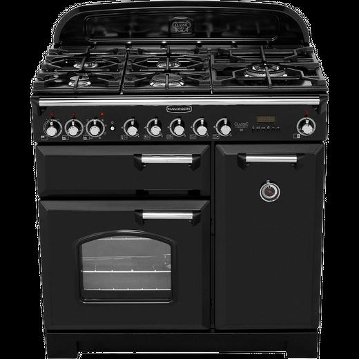 Rangemaster Classic Deluxe CDL90DFFBL/C 90cm Dual Fuel Range Cooker - Black / Chrome - A/A Rated