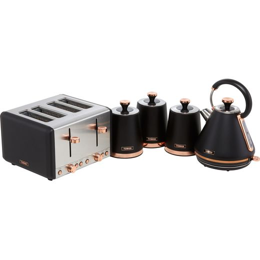 Tower Cavaletto AOBUNDLE020 Kettle And Toaster Set - Black / Rose Gold