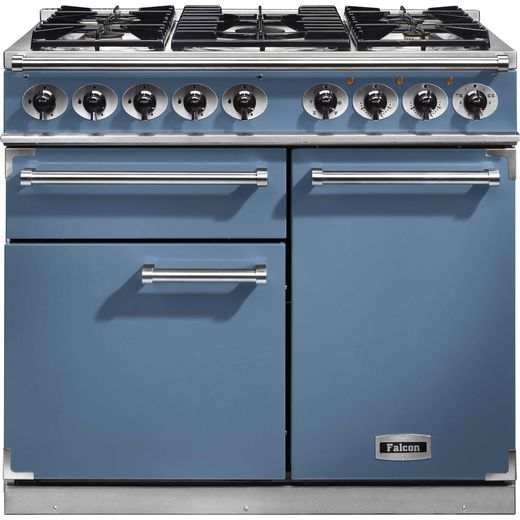 Falcon 1000 DELUXE F1000DXDFCA/NM 100cm Dual Fuel Range Cooker - China Blue - A/A Rated