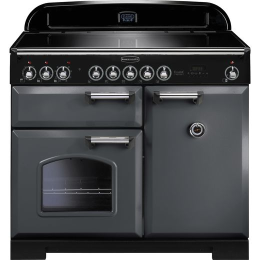 Rangemaster Classic Deluxe CDL100EISL/C 100cm Electric Range Cooker with Induction Hob - Slate Grey / Chrome - A/A Rated