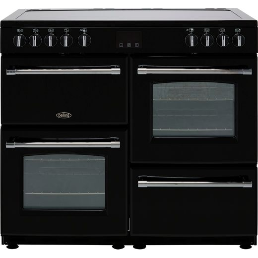 Belling Farmhouse100E 100cm Electric Range Cooker with Ceramic Hob - Black - A/A Rated