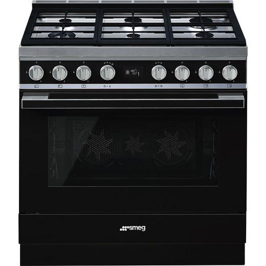 Smeg Portofino CPF9GPBL 90cm Dual Fuel Range Cooker - Black - A+ Rated