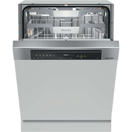 Miele G7315SCiXXL Wifi Connected Semi Integrated Standard Dishwasher - Clean Steel Control Panel with Fixed Door Fixing Kit - C Rated