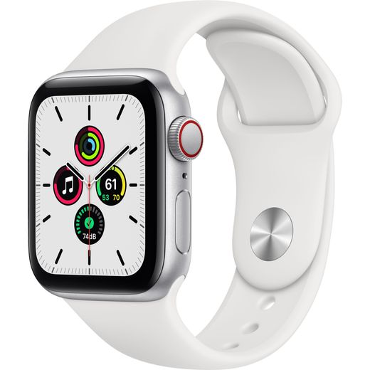 Apple Watch SE, 40mm, GPS + Cellular [2020] - Silver Aluminium Case with White Sport Band