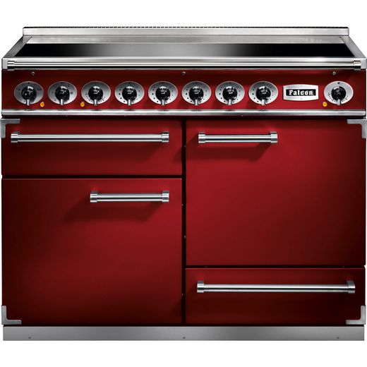 Falcon 1092 DELUXE F1092DXEIRD/N 110cm Electric Range Cooker with Induction Hob - Cherry Red - A/A Rated