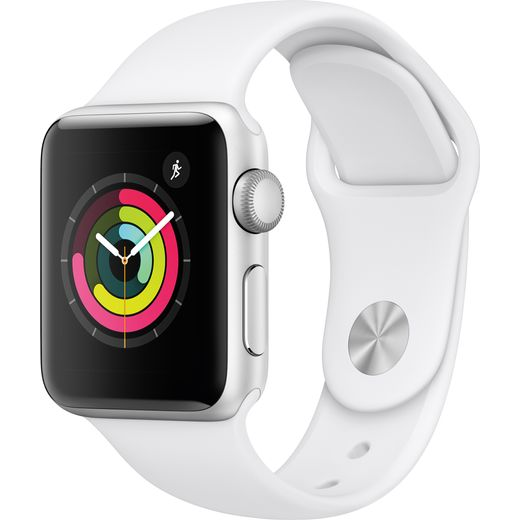 Apple Watch Series 3, 38mm, GPS [2017] - Silver / White Aluminium Case with White Sports Band