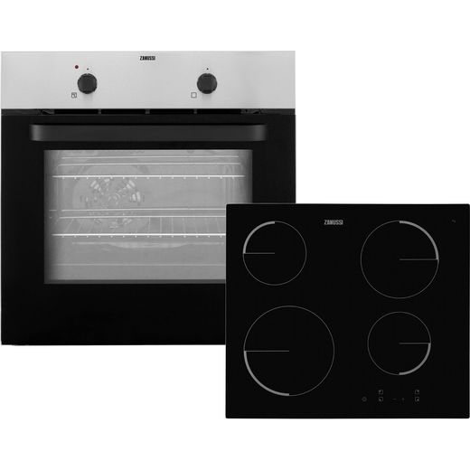 Zanussi ZPVF4130X Built In Electric Single Oven and Ceramic Hob Pack - Stainless Steel / Black - A Rated