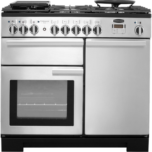 Rangemaster Professional Deluxe PDL100DFFSS/C 100cm Dual Fuel Range Cooker - Stainless Steel - A/A Rated