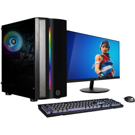 """3XS Core 1650 24"""" Gaming Tower Includes 24-inch IPS monitor, Corsair RGB gaming keyboard and Corsair RGB gaming mouse - 500GB SSD - Black"""