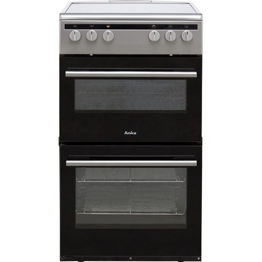 Amica AFC5100SI 50cm Electric Cooker with Ceramic Hob - Silver - A/A Rated