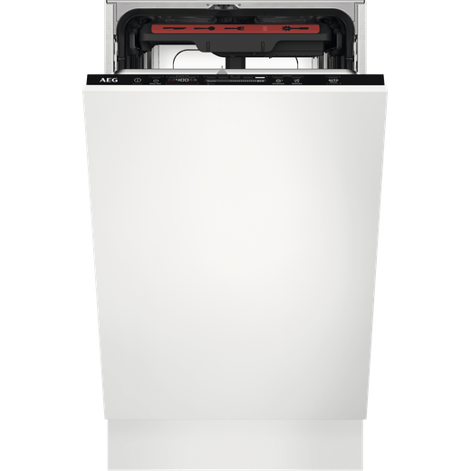 AEG FSE72507P Fully Integrated Slimline Dishwasher - Black Control Panel with Fixed Door Fixing Kit - E Rated
