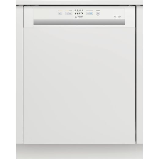 Indesit DBE2B19UK Semi Integrated Standard Dishwasher - White Control Panel with Fixed Door Fixing Kit - F Rated