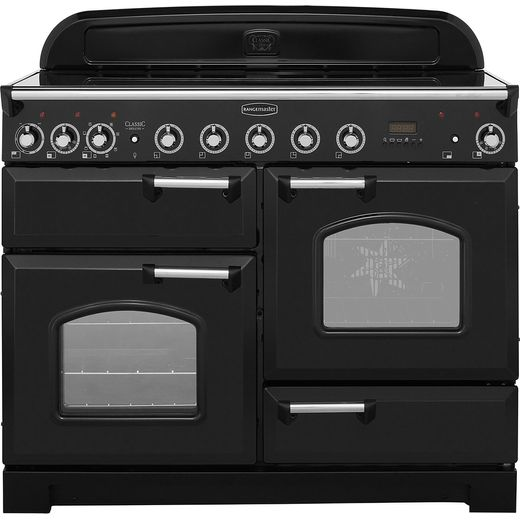 Rangemaster Classic Deluxe CDL110EIBL/C 110cm Electric Range Cooker with Induction Hob - Black / Chrome - A/A Rated