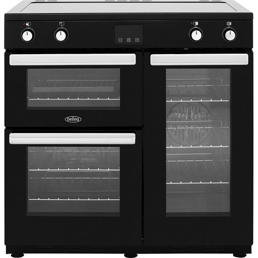 Belling Cookcentre90Ei 90cm Electric Range Cooker with Induction Hob - Black - A/A Rated