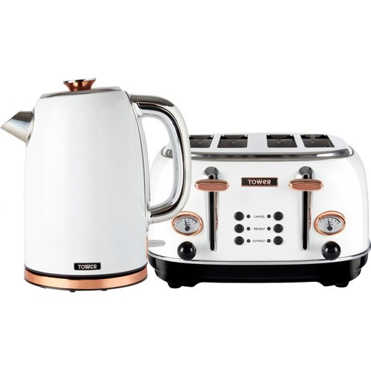 Tower AOBUNDLE003 Kettle And Toaster Set - White / Rose Gold