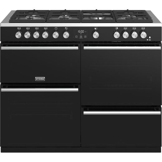 Stoves Precision DX S1100G 110cm Gas Range Cooker with Electric Grill - Black - A/A/A Rated