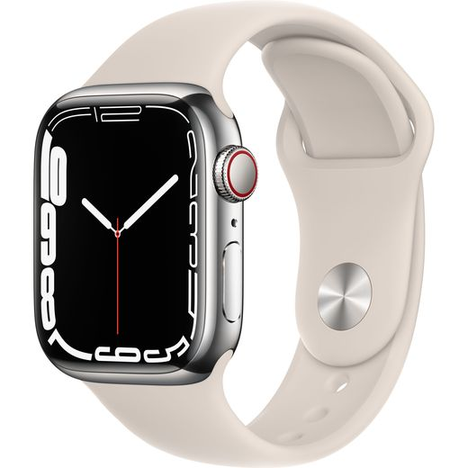 Apple Watch Series 7, 41mm, GPS + Cellular [2021] - Silver Stainless Steel Case with Starlight Sport Band