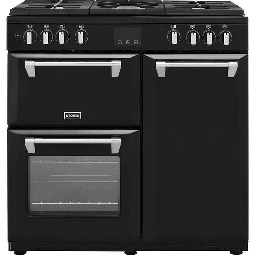 Stoves Belmont900DFT 90cm Dual Fuel Range Cooker - Black - A/A/A Rated