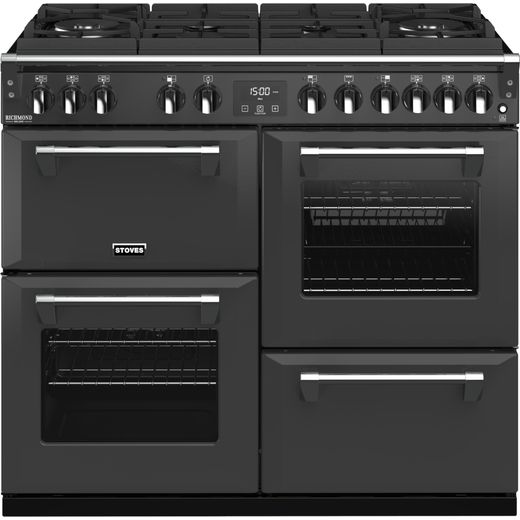Stoves Colour Boutique Collection Richmond Deluxe S1000DF GTG CB 100cm Dual Fuel Range Cooker - Anthracite - A Rated